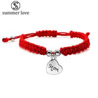 Kocham cię mama Czerwony wątek Splot Łańcuch Bransoletki Lucky Jewelry Dla Heart Mother Charm Bransoletka Dobry Prezent Błogosław