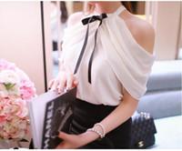 Omuz seksi kısa kollu artı boyutu bluz gömlek SMLXLXXL3XL kapalı 2020 yeni kadın yaz yular boyun şifon