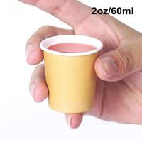 5000 Образец X 2oz / 60ML Mini Paper Дегустации Чашки белый / коричневый кофе Супермаркет Promotion питьевой чашки чая Оптовая