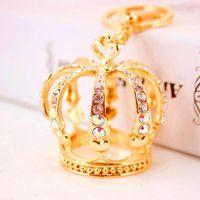 Presente de aniversário Rhinestone Royal Crown Keychain 3D Metal Alloy Cristal Pingente fecho da lagosta Car Chaveiro Anel Chaveiro Namorada