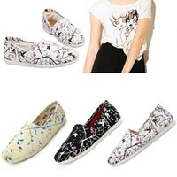 Graffiti Print Doodling Sneakers Slip- On Casual Lazy Shoes f...