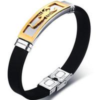 Pulsera de moda las pulseras pinzas Negro + Oro los 20.5CM acero inoxidable de silicona pulseras Hip Hop Europeo masculino y brazaletes de los hombres americanos