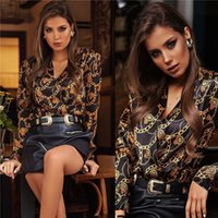 Heavy Metal Chain Print Womens Designer Chemises Casual Deep V Cou Womens Blouses Mode Females Vêtements