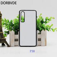 2D Sublimation Case TPU + PC-gummi DIY Baklucka för Huawei P30 P30 Lite Fundas med aluminiuminsatser Coque 100pcs Gratis frakt