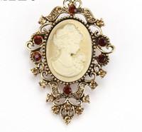 El oro / de la vendimia plateado plata pernos de metal del Victorian del camafeo broches para las mujeres o la madre