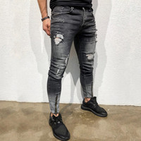Erkekler bağbozumu Pomo Esnekliği Skinny Jeans Moda Diz Delikler Casual Biker Kot Pantolon Streetwear Ripped Alt fermuar Tahrip