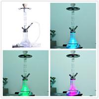 21.25 인치 높이 아크릴 라운드 물 담뱃대 봉 세트 원격 제어 LED 가벼운 유리 물 파이프 흡연 Shisha 담배 필터 아라비아 도구
