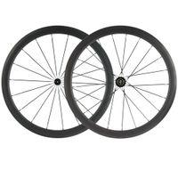 한 쌍의 자전거 탄소 바퀴 40mm UD 브레이크 표면 바퀴 탄소 도로 자전거 휠 세트와 블랙 R13 허브 25mm 바퀴