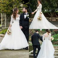 2019 Country Garden Wedding Dresses Knöpfe Zurück Spitze 3/4 Lange Ärmel Brautkleider A Line Dress