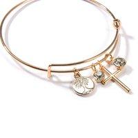 Life of Tree Braccialetti regolabili strass croce incrocio blangles per le donne ragazze vintage braccialetto regalo gioielli