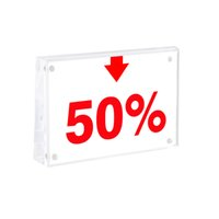 Acrylic Block Frame Magnetic Cover Price Tag Display Business Name Card Holder Desk Sign Holder Table Paper Label Frame Stand