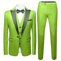 Custom Made Groomsmen verde limão noivo smoking preto lapela Men Suits Wedding Best Man Blazer (Jacket + Calças + Vest + Tie) C484