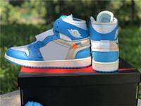 2020 Off authentique 1 Haut UNC Basketball Chaussures Hommes Femmes Université Blanc Bleu foncé poudre bleu cône rouge Chicago AQ0818-148 Sneakers sport
