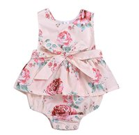Newborn Baby Girls Flower pink Romper Fashion Baby Girls Sle...