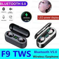 F9 TWS Bluetooth Mini 5.0 écouteurs casque sans fil Haut-parleur 2 en 1 LED casque Avec 2000mAh Power Bank Affichage de charge de cas