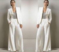 Custom Made Bling Sequins Ivory White Pants Suits Mother Of ...