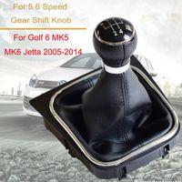 Araç Aksesuarları Vites Kol Düğmesi değiştiren 5 Hız 6 Hız İçin Volkswagen VW Golf 6 MK6 için Jetta MK5 ile tozluk Boot Kapak