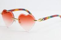 Vendendo de madeira óculos de sol sem aro pavão de madeira sol óculos 3524012 Top rim foco óculos gato olho óculos masculino feminino feminino e alongado triângulo lentes unisex