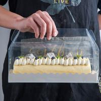 Transparent gâteau rouleau d'emballage Boîte avec poignée écologique clair fromage en plastique gâteau Boîte de cuisson Boîte suisse Rouleau ZZA1864
