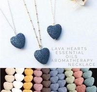 Kalp Lava Kaya Kolye Kolye 9 Renkler Aromaterapi Uçucu Yağ Difüzör Kadınlar için Kalp Şeklinde Taş Kolye