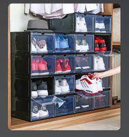 10pcs / lot PP Transparent Plastic Storage Boîtes à chaussures de stockage Stagiper à la poussière Tireuse Boîte de rangement peut être pliée et amovible CZG 003-2