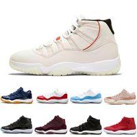 Yeni 11 11'leri Cap ve Gelinlik Gece Erkek Basketbol Ayakkabı Midnight Navy Gym Kırmızı PRM Heiress Barons erkekler Spor Sneakers eğitmenler Bred