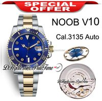 N 904L acier Cal V10 SA3135 Diamants automatique Mens Watch Two Tone or jaune bleu Dial céramique Mosang Marqueurs Oyster Bracelet Puretime 04