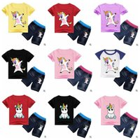 Licorne Vêtements enfants Tenues pour bébés Garçons Bande dessinée Vêtements de Bande Dessinée Filles Imprimé Costumes Enfant Coton T Shirt Jeans Pantalon Mode Tops Denim B4813