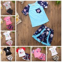 INS Baby Outfits Cartoon Girls Tops Shorts 2PCS Sets Short S...