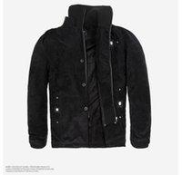 Homens Inverno Casacos cargas sólidas Painéis Zipper Fly Windrunner Fique Collar Manga comprida de algodão Jacket Mens Clothing