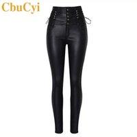 CbuCyi Высокая Талия Женская одежда искусственная кожа брюки Узкие кружева Мото байкер длинные брюки Женские стрейч покрытием джинсовые брюки