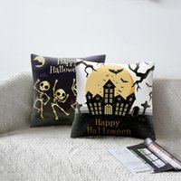 Halloween Kissenbezug Happy Halloween Print Kürbis Kissenbezug Ghosts Skull Sofa Car Home Decor Kissenbezug 45x45cm