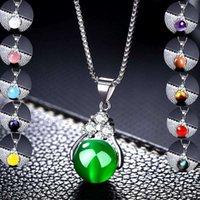 La collana del pendente della pietra naturale di modo 11 colori miscelato hot tondo tondo della pietra preziosa dei gioielli dell'amore dell'amore per le donne