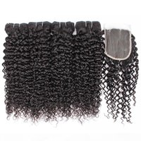 Jerry Curly Virgin Hair 4 Bundles with Lace Closure Natural ...