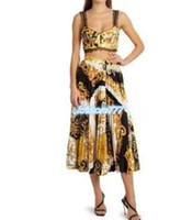 الفتيات المرأة قمم المحملة داخلية الصدرية + تنورة طويلة مطوي مع نمط هندسي 2020 الأزياء اثنين من قطعة اللباس مجموعة camisole متعدد الألوان أبلى