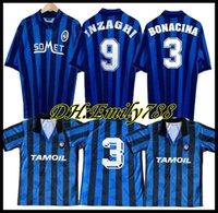 1991 Retro Atalanta 1996-1997 Futebol Inzaghi Lentini Futebol Clássico Camiseta Futbol Vintage Shirt Kit Maillot Maglia