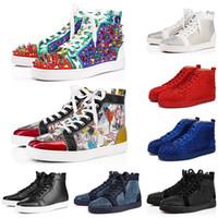 CL Top Quality Red Bottoms Дизайнер Luxury Шипованные Шипы Mens вскользь ботинки Мужчины Женщины партии Любители Фирменные спортивные спортивные кроссовки