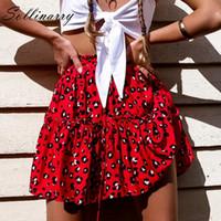 Kırmızı Ruffles Leopar Yaz Etekler Kadınlar YENI Seksi Boho Mini Etekler Retro Rahat Bir Çizgi Yüksek Bel Kızlar Kısa