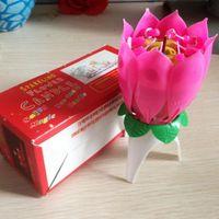 2019 Rose Bougies parfumées Offre Bougie lampe No rouge Velas Decorativas Belle cadeau d'anniversaire de fleurs Musique Lotus New Bougies Petal Party
