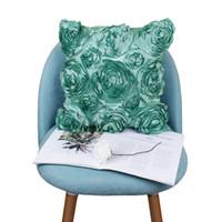 Chambre Bedclothings Fleurs Rose brodé oreiller Fournitures de mariage de cas Sellette Couverture souple Accueil Charge Literie Festive Taie 42x42cm