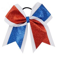 7 inch Pony Tails Hoder Glitter Red Blue White Cheer Bow Hai...