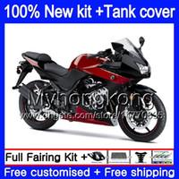 +Tank For KAWASAKI ZX250R EX250 08 09 2010 2011 2012 201MY.133 EX 250 ZX 250R EX-250 ZX-250R EX250R 2008 2009 10 11 12 Dark red blk Fairing
