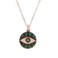Mode niedlich Evil Eye Anhänger Halsketten für Frauen gepflastert grün schwarz Zirkonia Kristall Charme schöne Anhänger Schmuck Roségold