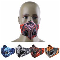 Mountain Bike Mouth Muffle Printed Half Face Masks Anti Dust Cycling Face Mask Breathable Activated Carbon Training Cycling Masks CCA12263