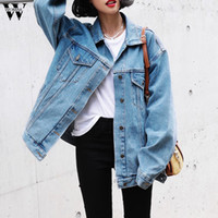 Denim 2019 Yeni paltoları Kadınlar Kış Gevşek Jeans Coat Uzun Kollu Retro Kovboy Denim Gevşek Casual Ceket Palto Kadın