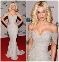 2019 sexy sirena vestido de noche fuera del hombro gasa de plata Beads lentejuelas vestidos de baile vestidos formales Vestido de festa 101