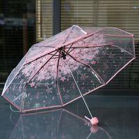 100pcs / lot libera trasparente Umbrella maniglia antivento 3 volte ombrello Cherry Blossom funghi Apollo Sakura donne di ombrello ragazza