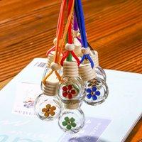 8-10ML Hanging Car Perfume Flower Bottle Fragrance Diffuser Bottle Air Freshner Glass Essential Oil Bottle Car Decorations LJJA3231