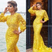 2020 amarelo sereia vestidos de baile de formatura completa mangas compridas elegantes vestidos de noite muçulmanos plus size vestido de ocasião especial