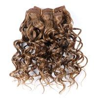 Afro Kinky Curly 8 pouces synthétique cheveux Weave Bouncy Jerry Curl naturel Cheveux courts Welf Bundles Noir tissage de cheveux 3pcs / lot